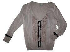 Women H&M Tan Black Ruffle Viscose 3/4 Length Sleeve Cardigan Sweater Size S