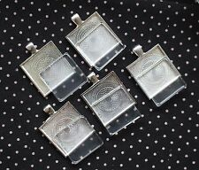 Silver Square Bezel With Glass Tile Cabochon Pendant Kit Lot of 5 NEW