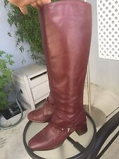 VINTAGE UNBRANDED 80's Leather Red Knee High Heel Pull-On Boots Sz 6.5 M Spurs