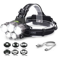 Hell 90000LM stirnlampe T6 LED Kopflampe FACKEL TASCHENLAMP Headlamp + USB Kabel
