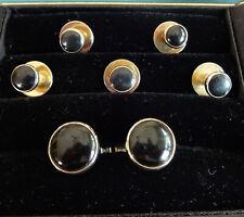Vintage 7 piece Classic Round Black Onyx Goldtone Tuxedo Set 5 Studs & Cufflinks