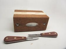 Oyster Knife Set 2pc w Wood Oyster Holder Box Shucker Shucking Opener R Murphy