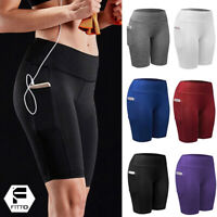 Women's High Waist Yoga Shorts Workout Pockets Running Gym Fitness Hot Pants M17