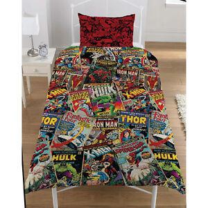 MARVEL COMICS HEROS SINGLE DUVET QUILT COVER BOYS REVERSIBLE BEDDING SET