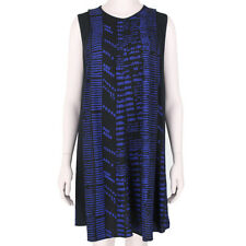 Proenza Schouler Black Indigo Blue Woodblock Print Flared Dress US8 UK12