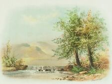Antique Chromolithograph Mountain Landscape William Henry Chandler Pastel Artist
