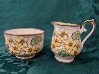 Cream and Sugar, Yellow Flowers, Fine Bone China, England, Lovely