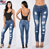 US Womens High Waist Jeans Ripped Skinny Slim Stretch Denim Pants Trousers S-3XL