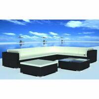 vidaXL 24 Piece Outdoor Lounge Set Wicker Poly Rattan Black Garden Patio Sofa