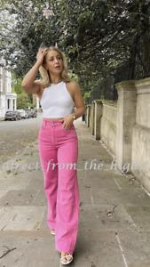 ZARA Bubblegum WIDE-LEG FULL-LENGTH Coloured JEANS Size UK 6_8 REF6045/011