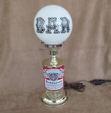 Vintage Budweiser Beer Bar Light/Table Lamp, White Glass Globe Bar