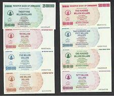Zimbabwe 1 to 500 Million Dollars (2008) P53~60  UNC 8pcs