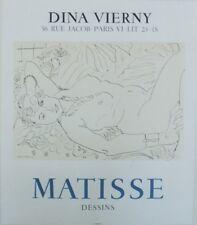 """""""MATISSE : DESSINS / EXPOSITION 1970"""" Affiche originale entoilée Litho MOURLOT"""