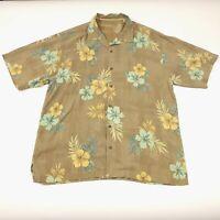 Tommy Bahama Brown Floral Silk Hawaiian Aloha Camp Shirt Men's Size Large Used