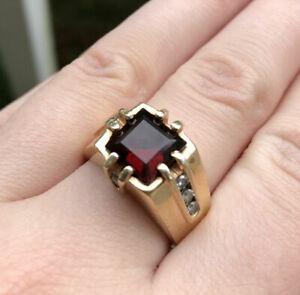 14K YELLOW GOLD PLATED ENGAGEMENT WEDDING LUXURIOUS RING FOR MEN'S 2.1 CT RUBY