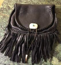Handmade Braided Leather Fringed Hip Belt Loop Bag Purse Sterling Silver Accent