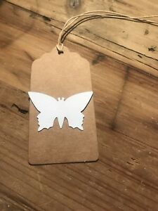 Handmade Handcrafted Butterfly Natural Rustic Blank White  Gift Tags x 6
