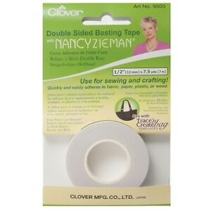 """CLOVER DOUBLE SIDED BASTING TAPE WITH NANCY ZIEMAN - ½"""" x 7.5yd / 12mmx7m CL9505"""