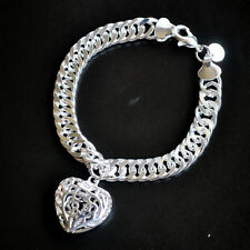 """925 Sterling Silver Filled Solid Euro Bracelet & Hollow Heart Locket """"Stamp 925"""""""