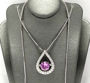 .925 Sterling Silver 1.25ct Round Cut Pink & White Sapphire Pendant Necklace