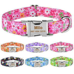 Personalised Fabric Flower Dog Collar Engraved for Medium Large Girl Female Dogs