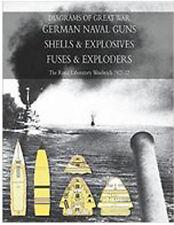 DIAGRAMS OF GREAT WAR GERMAN NAVAL GUNS - SHELLS & EXPLOSIVES - NAVAL FUSES