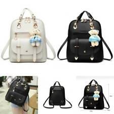 Women Leather Backpack Girls Bear Pendant College School Shoulder Bags Handbag