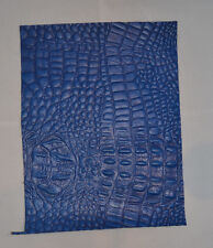 Leather Piece - 8.5 x 11 - Alligator Print on Cowhide - Blue - 1 piece (E101)