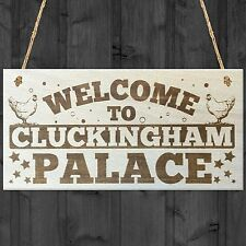 Red Ocean Welcome To Cluckingham Palace Novelty Wooden Hanging Plaque Chicken