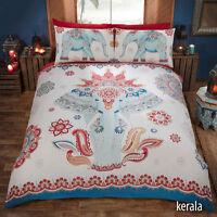 Ethnic Elephant Kerala Print Red white & Blue Duvet Quilt Cover Bedding Set