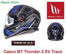Casco Integrale Doppia Visiera MT Thunder-3 SV-Trace Nero/Blu Taglia XL 61/62