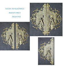 Interesting old key hole cover brass furniture part 23 cm x 11 cm