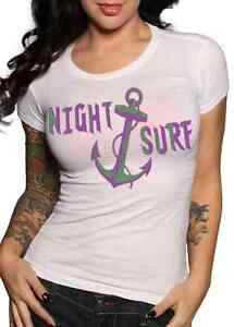 Lucky 13 t shirt women white cotton scoop neck Night Surf anchor pinup tattoo