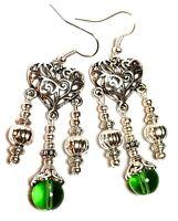 Long Silver Chandelier Green Pierced Earrings Glass Bead Antique Vintage Style