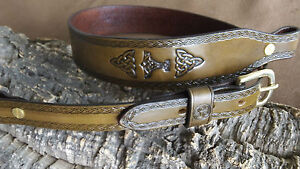 Hand made leather Cobra style rifle sling with celtic design, Thors hammer