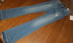 Sz 3 Almost Famous Embellished Distressed Skinny Blue Jeans Fringe w/Iron-on