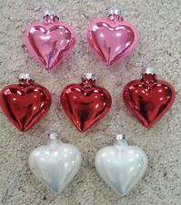 "7 - Heart Shaped Ornaments – 3 Red, 2 White, 2 Pink - 2 ¼"" H – New"