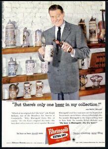 1959 Ralph Bellamy & beer stein collection photo Rheingold Beer vintage print ad