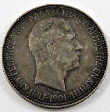 CRETE 1901 5 DRACHMAI SILVER COIN PRINCE GEORGE XF CONDITION .7234 OZ SEE PICS