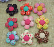 20pcs Cute Polka Dot Flower Fabric Covered Flatback Sewing Buttons Crafts 33mm