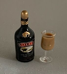 Dolls House Miniature 1/12th Scale 'Baileys' Bottle and Glass Set SK146