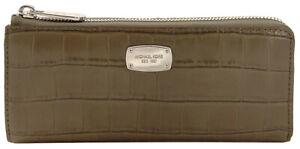 Michael Kors Bedford Purse Wallet Zip Around Dark Grey Elephant Embossed Large