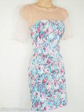 BNWT Fearne Cotton Floral Print Mesh Neck Shift Dress Size 10  Stretch RRP £60