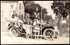 c.1915 SEMINOLE & PLAINS INDIANS IN A VINTAGE AUTOMOBILE ~ INDIAN PARADE
