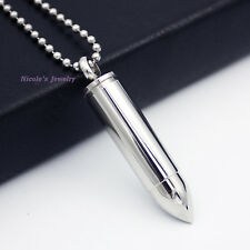 Stainless Steel Memorial Urn Cremation Necklace Bullet Keepsake Ash Holder