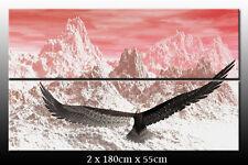 DEKOART BILDER XXL WANDBILD Gebirge Adler LEINWAND BILD XXL 180cm x 110cm