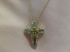 14K MULTI COLOR GOLD .11CT YELLOW .20CT WHITE DIAMOND CROSS PENDANT