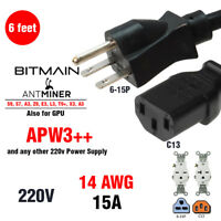 HEAVY DUTY Power Cord 220-250v UL 14 AWG 6-15P For ALL BITMAIN ANTMINER AND GPU