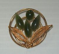 Vintage Round Goldtone Flower Filigree Green Jade Cabochons Brooch