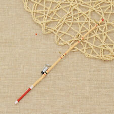1 Pc 1:12 Dollhouse Miniature Outdoor Wood Fishing Rod with Line Hook 17.5cm
